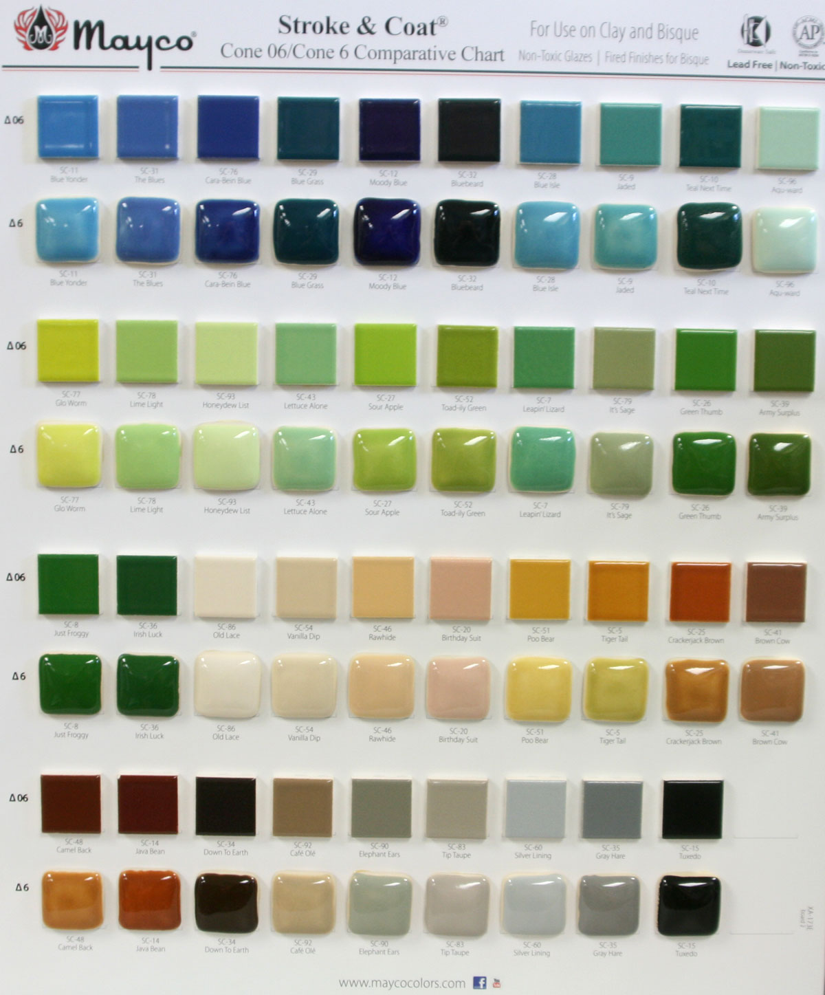 Mayco Ceramic Paint Color Chart