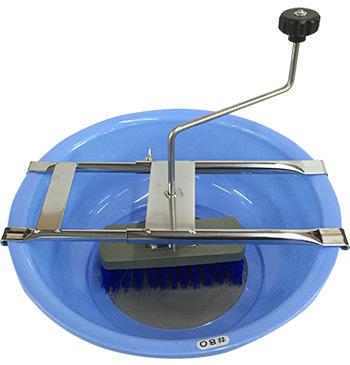Artisan glaze sieve shown with brushing hardware