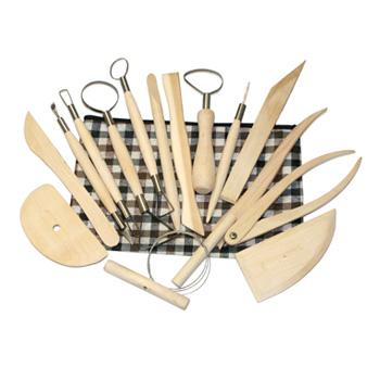 Artisan 15 Piece Natural Wood Potters Assortment